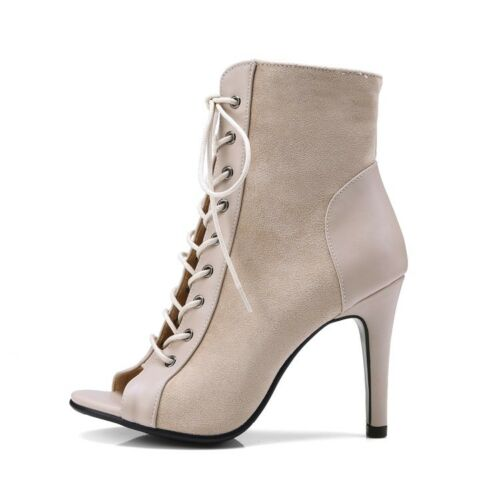 Women Lace Up Slim High Heels Gladiator Open Toe Ankle Boots Lady Sandals Shoes