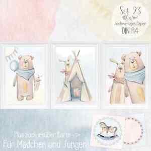 Babyzimmer Bilder Teddy Baby Poster Kinderzimmer Bilder Set DIN A4 ...