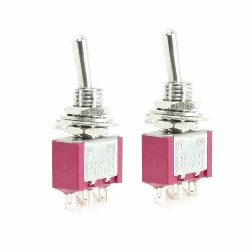 5A//125VAC 2A//250VAC ON//ON DPDT 3-Terminals MTS-102 Type Toggle Switch 1 Piece