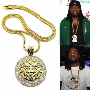 Mens Round Rapper Medallion Pendant Gold Franco Chain 36 Necklace Ebay