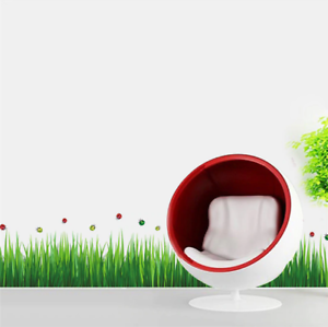 Ladybug Green Grass Wall Stickers Removable  Living Room Bedroom Decor 50x70cm