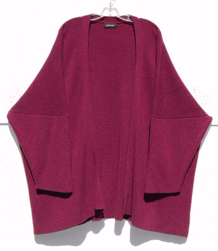 Eskandar RASPBERRY Medium Weight Weight Weight Cashmere Fine Ribbed Cardigan Sweater O S  2190 fad4d1