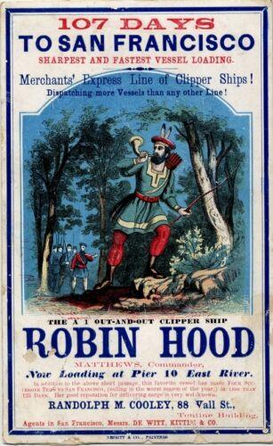 "Robin Hood Clipper Ship New York To San Francisco 1855 7x4/"" Sailing Card Reprint"