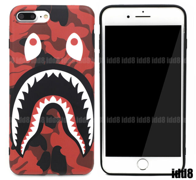 new product 1d7a7 728c7 A Bathing Ape Bape Red CAMO SHARK Phone Case For iPhone XS Max XR X 8 7  Plus 6