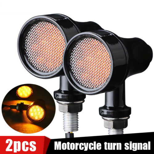 Aluminum Motorcycle LED Black Bullet Brake Running Turn Signal Tail Light Amber