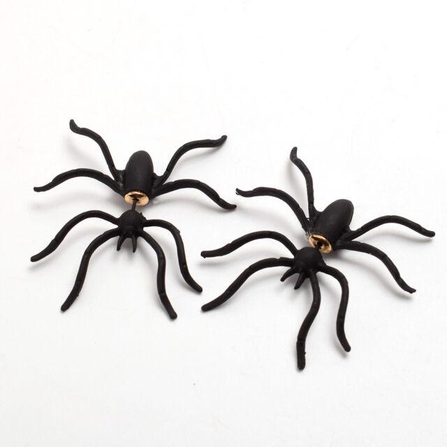 1 or Pair Fake Black Spider Stud Earrings for Pierced Ears Gothic Punk UK E128