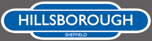 Hillsborough dentro//fuera de uso Sheffield Ferrocarril Totem signo