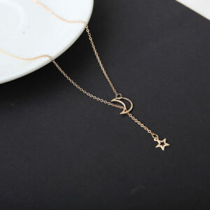 Charm-Gold-Silver-Moon-Star-Choker-Long-Pendant-Chain-Necklace-Women-Jewelry-FT