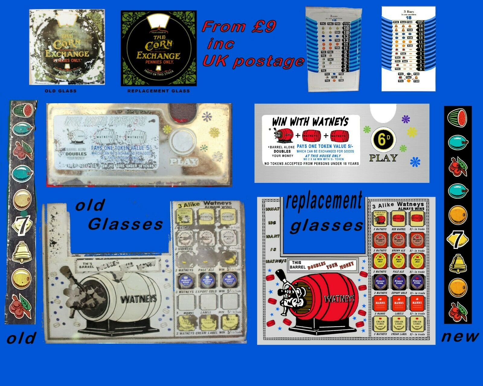 Slot Machine Replacement award cards ,reel strips & glasses ,logos From