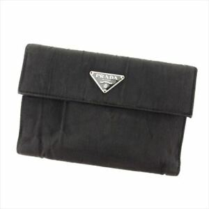 Prada-Wallet-Purse-Trifold-Nylon-Black-Woman-Authentic-Used-L2445