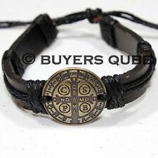 """St. Benedict Medal Leather Surfer Bracelet 7 3/4"""" Adjustable Black"""