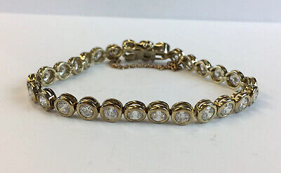Vintage Ladies Cubic Ziconia Tennis Bracelet in Gilt Gold Sterling Silver FREE POSTAGE Included