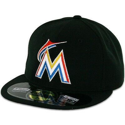 Miami MARLINS HOME Game Black New Era 59FIFTY Fitted Caps MLB AC On Field Hats