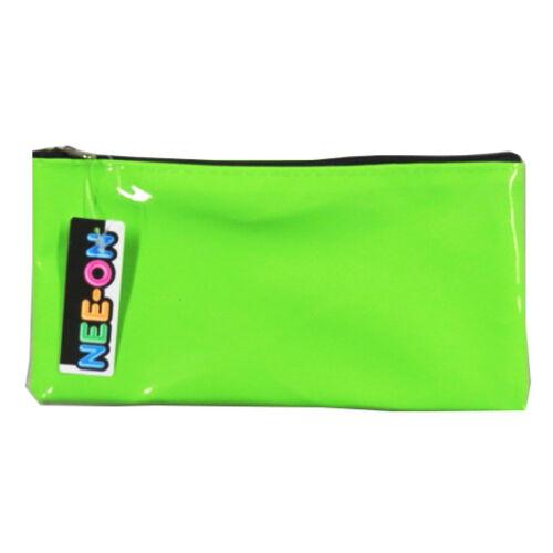4 Fluorescent Colours Nee-On Pencil Case Blue /& Orange Pink Green