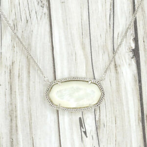 9e3cbc49a6d88 Details about NWOT Kendra Scott Delaney Ivory Pearl Shell Necklace Silver  Tone