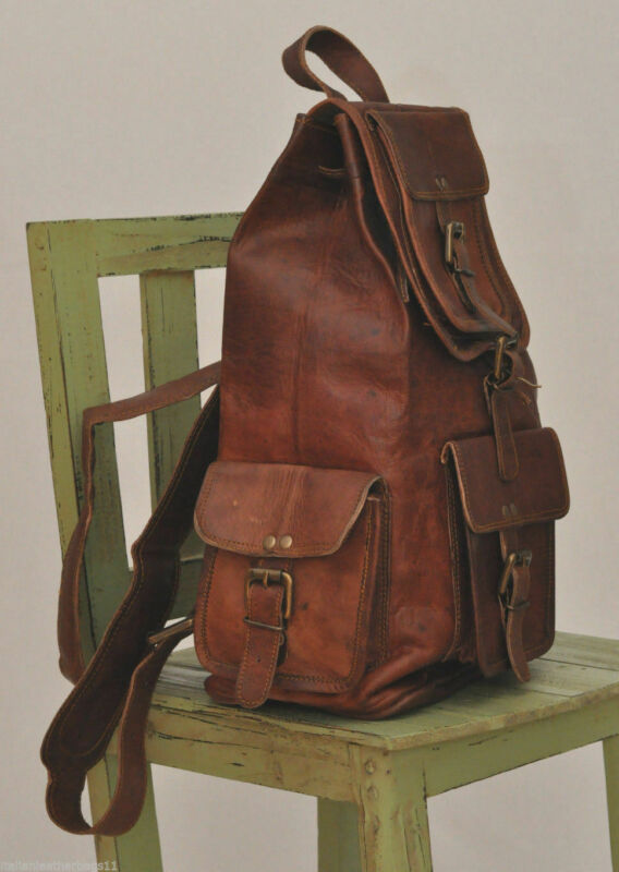 New Handmade Large Genuine Mild Leather Backpack Rucksack Travel Bag Men's` Suitable For Men And Women Of All Ages In All Seasons