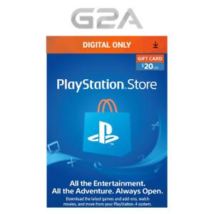 Playstation Network $20 USD Card - PSN 20 Dollar - PS4 PS3 - US Store Key Code