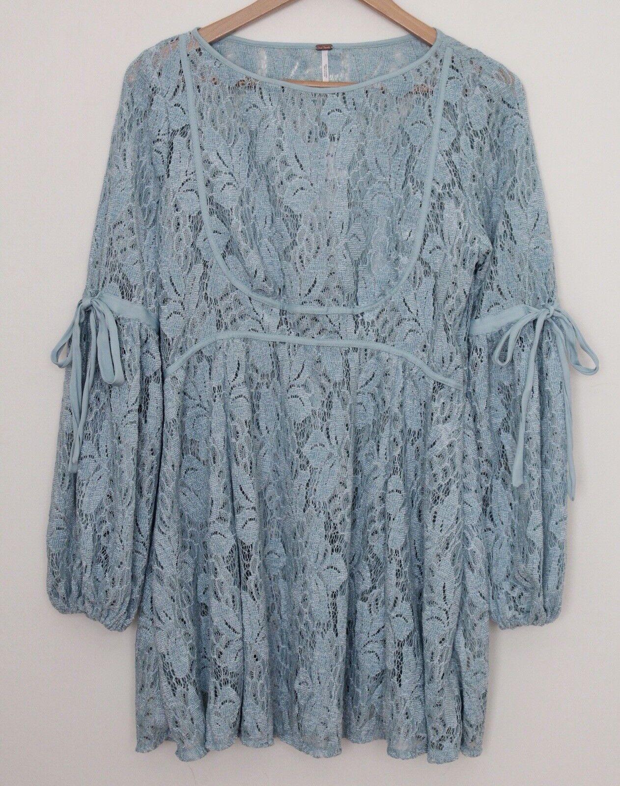 Free People Ruby Crochet Lace Mini Dress Sea Fog Long Blouson Tie-Sleeves Small