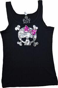 Women-039-s-Pink-Bling-Skull-Shirt-Sequins-Tank-Top-No-Rhinestones-New