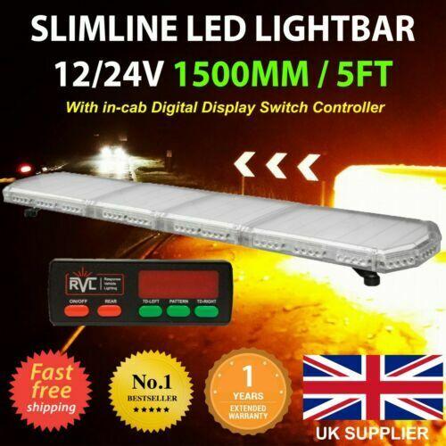 12//24v LED Luce Ambra Barra Strobo Faro Recupero Allarme 150cm 1500mm 1.5m 150cm