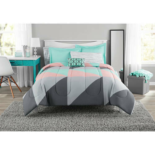 Mainstays Grey /& Teal Bed in a Bag Bedding Set King