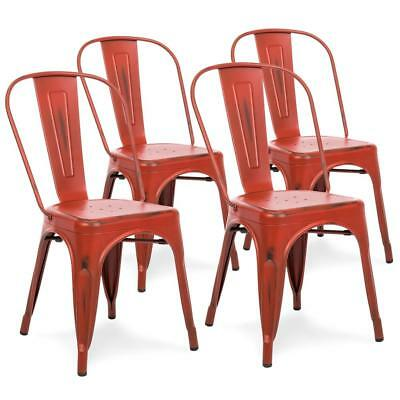 4 Red Stackable Metal Distressed Industrial Antique Style Dining Kitchen  Chairs | eBay