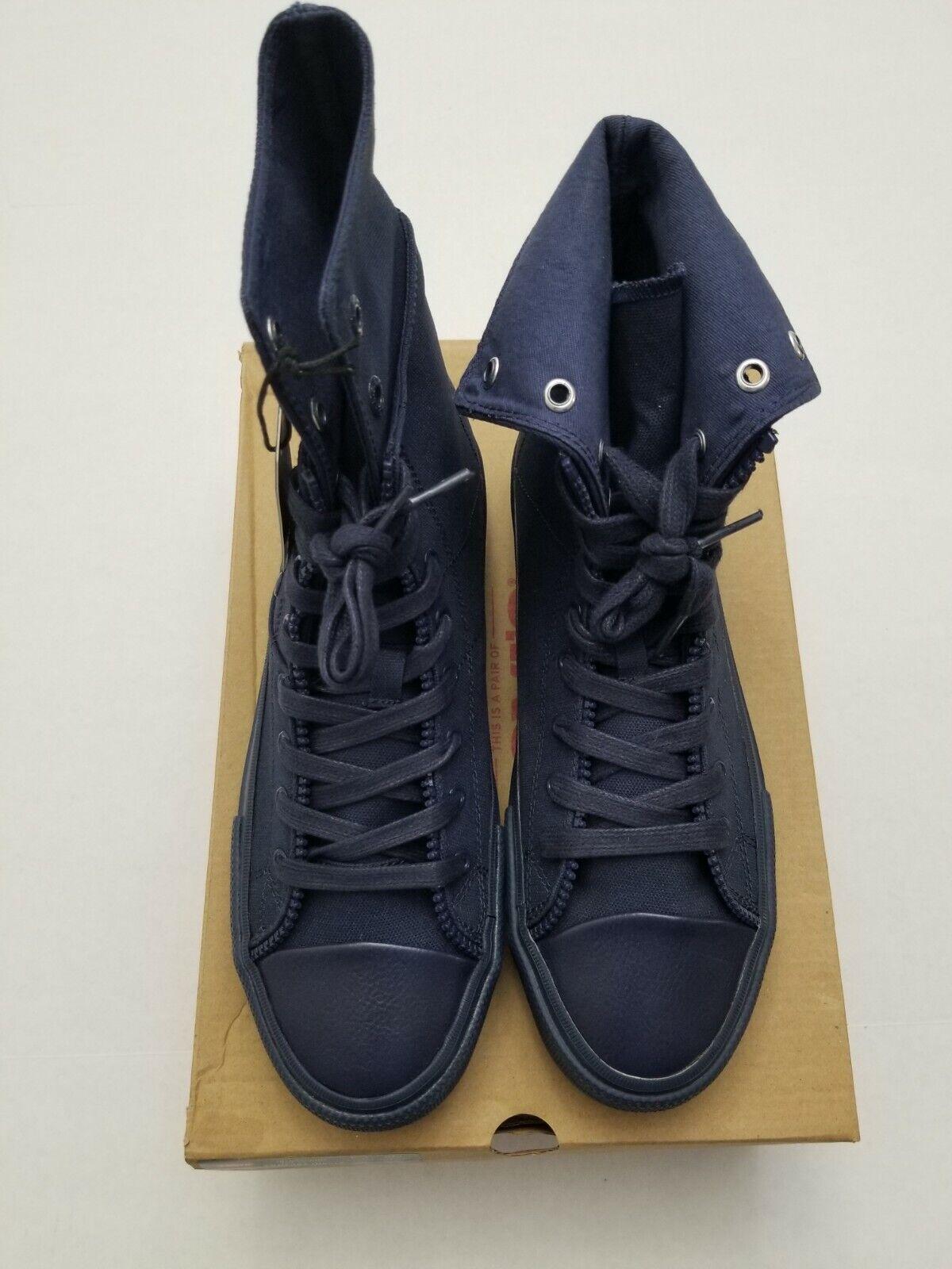 Levi Men's Zip Ex L Hi Mono Navy Blue Sneaker Shoes Size 8 New With Box 519267