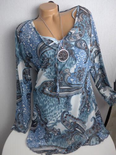 688 Bluse Shirt Damen Boysens Mesh Gr 2 in 1 Effekt NEU 46 bis 52 gemustert