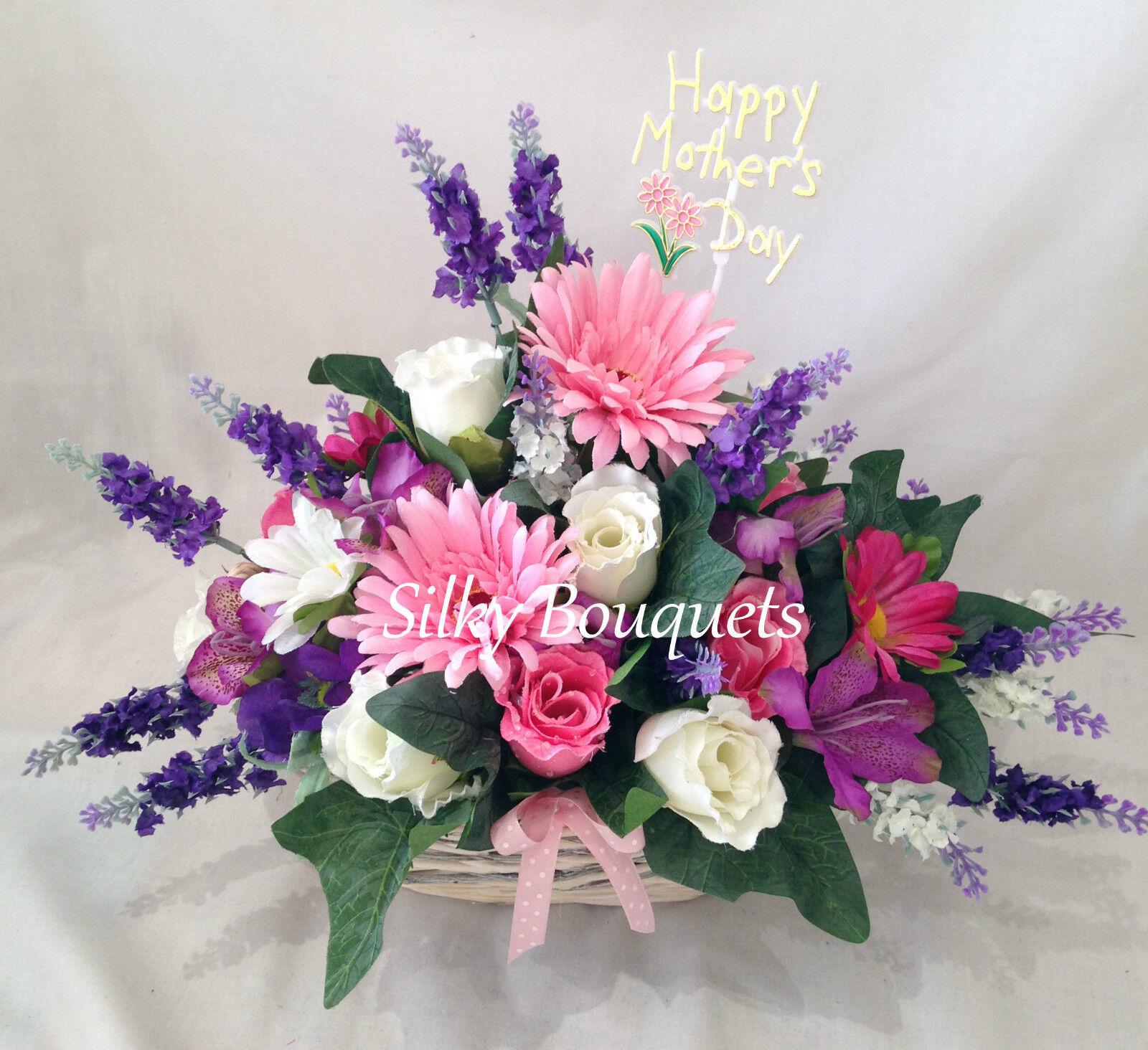 Artificial Silk Flower Basket Bouquet Gift Arrangement Delivered Mum Nan Gran Ebay