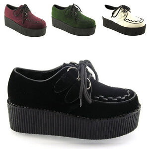 Femmes-Lacets-Double-Plateforme-Plate-Femme-Goth-Creepers-Punk-Wedge-Chaussures-Taille