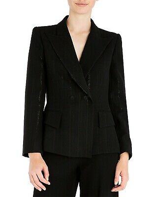 Purposeful Carla Zampatti Black Onyx Shimmer Pinstripe Blazer Jacket Size 8 Rrp $895 Suits & Suit Separates