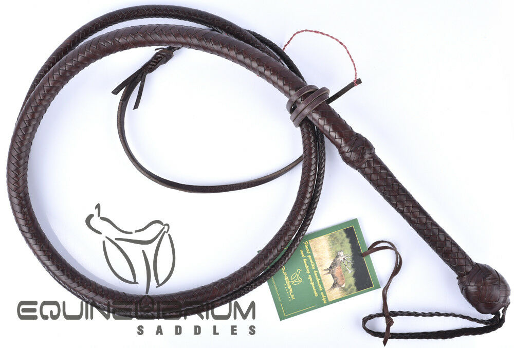 Professional 6 Foot 12 Plait Brandy Kangaroo Hide Bullwhip, Indiana Jones Style