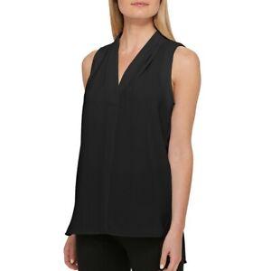 DKNY-NEW-Women-039-s-V-Neck-Pleated-Sleeveless-Blouse-Shirt-Top-TEDO