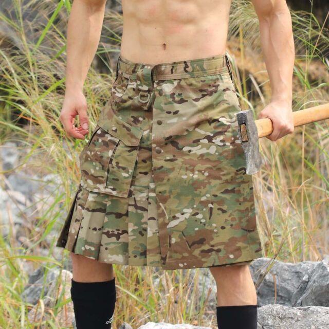 Scottish Mens Kilt Traditional Highland Dress Skirt MC Camo Combat Uniform Skirt