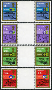 Guernsey 246-249, gutter pairs, MNH. Scouting Year. Sea Scouts, Cub Scouts, 1982