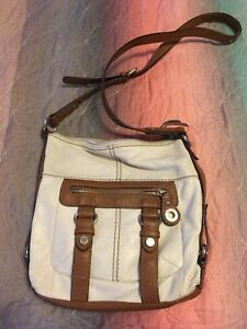 Tignanello-CREAM-And-Brown-Leather-Crossbody-Bag-3-Zippers-ZIP-Out-Wallet