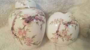 VTG-GINGER-JAR-VASE-2-PC-SET-YAMAJI-TOYO-SAKURA-JAPAN-PORCELAIN-PINK-BIRDS