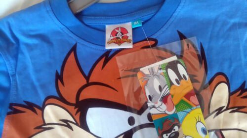 OFFICIAL KIDS TAZ  SHORT SLEEVE  BLUE//RED LOONEY TUNES COTTON T-SHIRT AGE 2-8Y