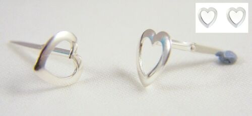 925 Sterling Silver Andralok Pierced Open Round Heart Studs Earrings Girl/'s GIFT