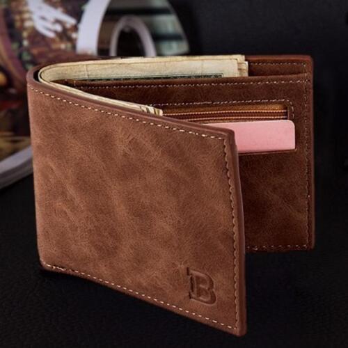 Hommes PU Cuir ID Carte de crédit Titulaire d/'embrayage deux volets porte-monnaie Portefeuille poches Fi