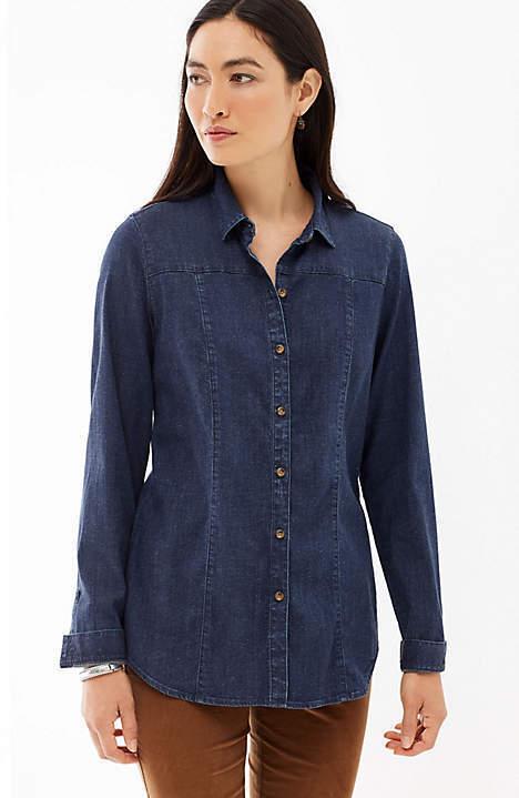 J. Jill - M(10 12) - Gorgeous  Bridgewater Wash Tencel-Denim Shirt - NWT