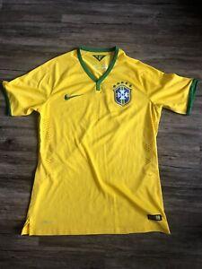 meet 1e18f 791f2 Details about NIKE BRAZIL NATIONAL SOCCER FOOTBALL TEAM YELLOW SEWN M  JERSEY 2014 WC