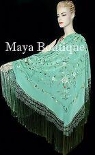 Flamenco Embroidered Silk Piano Shawl Wrap Tiffany Green Hand Dyed Maya Matazaro