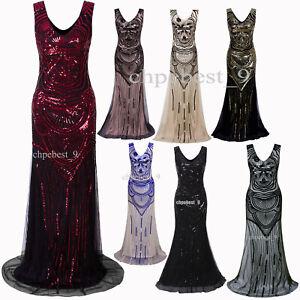Details about Long Prom Dresses Wedding Gowns 1920\'s Flapper Costumes  Sequins Fringe Plus Size