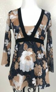 Sweat-Pea-by-Stacy-Frati-Blouse-Floral-3-4-Sleeve-V-neck-Mesh-Sz-Medium-Stretch
