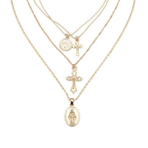 Mode Multicouche Rétro Croix Vierge Marie Pendentif Chaîne Collier Bijoux Ki