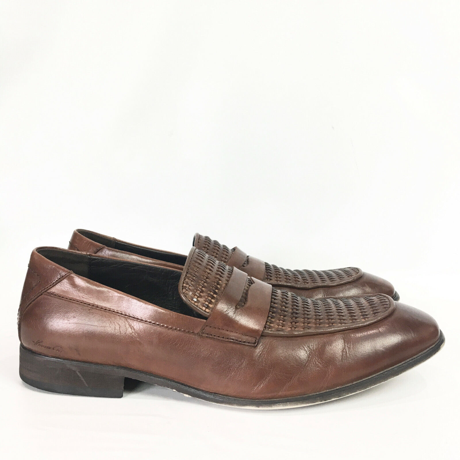 Kenneth Cole Penny Loafers Mens 10 M Smooth N Suave Brown Leather Dress Shoes