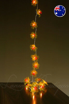 35 YELLOW & RED Orchid Flower EXTRA LENGTH 5M LED String Fairy Lights NEW Decor