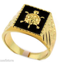 Mens Turtle Black Top 18kt Gold Plated Ring