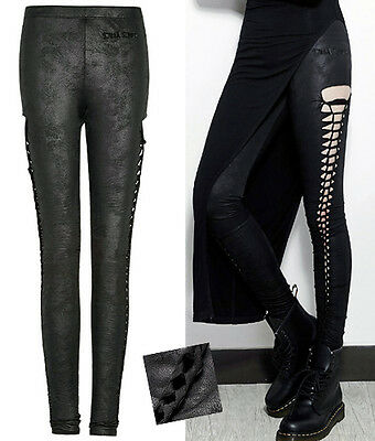 Pantalon leggings gothique punk lolita cuir craquelé laçages fashion Punkrave